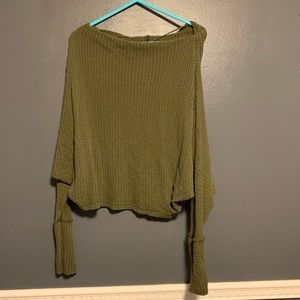 Free People waffle sweater olive off shoulder